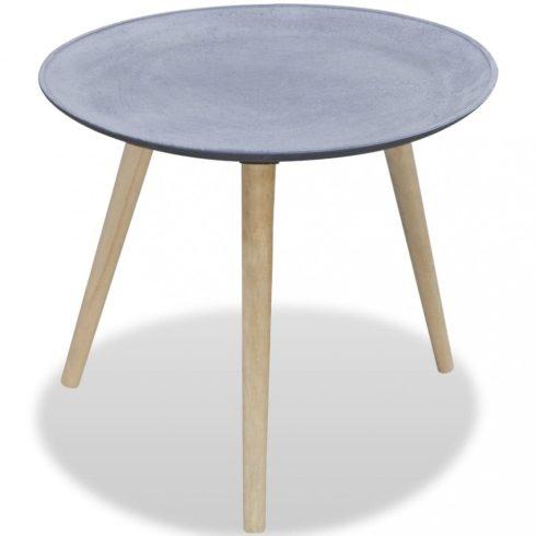 Kör alakú, szürke, betonhatású kisasztal