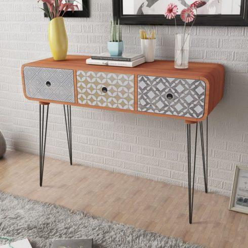 3 fiókos barna tálalóasztal