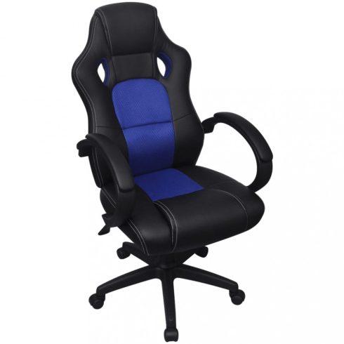 Vezetői versenyautó műbőr irodai szék kék