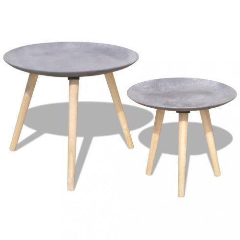 Kétrészes kisasztal/dohányzóasztal szett beton szürke 55 cm 44 cm