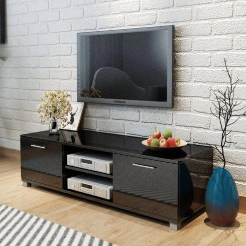 Tv szekrény magasfényű fekete 120x40,3x34,7 cm