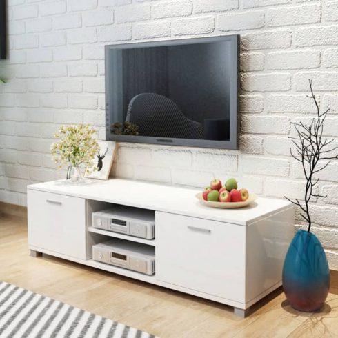 Tv szekrény magasfényű fehér 140x40,3x34,7 cm