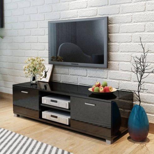 Tv szekrény magasfényű fekete 140x40,3x34,7 cm