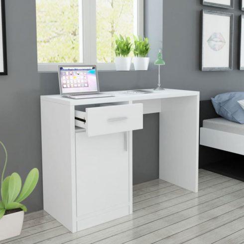 Fehér íróasztal fiókkal és szekrénnyel 100x40x73 cm