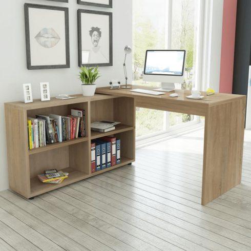 Tölgy sarok íróasztal 4 polccal