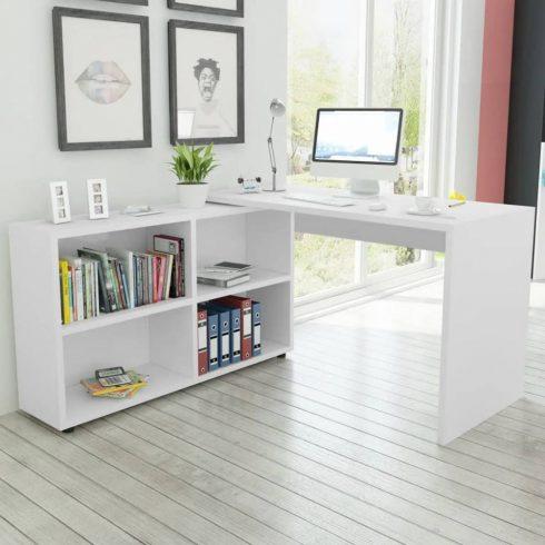 Sarok íróasztal 4 polccal fehér