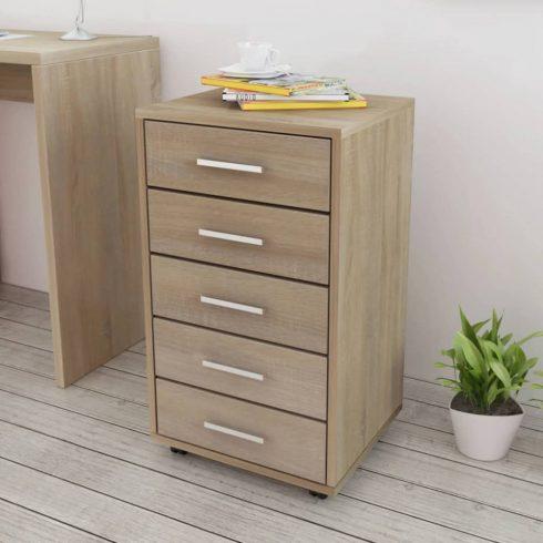 Tölgyfa színű irodai szekrény 5 fiókkal és görgőkkel