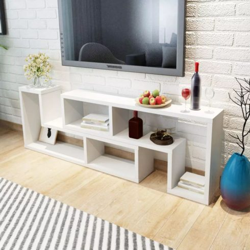 Tv szekrény két l-alakú polccal fehér