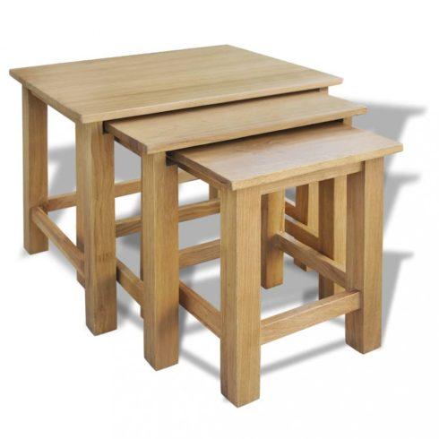 3 db tömör tölgyfa egymásba tolható asztal