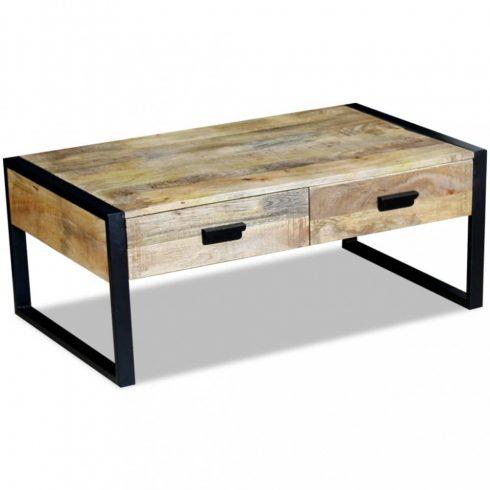 Tömör mangófa dohányzóasztal 2 fiókkal 100x60x40 cm