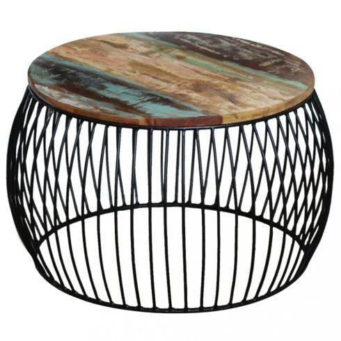 Kerek tömör újrahasznosított fa dohányzóasztal 68 x 43 cm