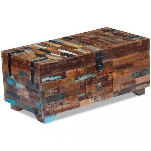 Ládika dohányzóasztal tömör újrahasznosított fa 80x40x35 cm