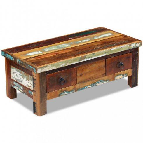 Fiókos dohányzóasztal tömör újrahasznosított fa 90x45x35 cm