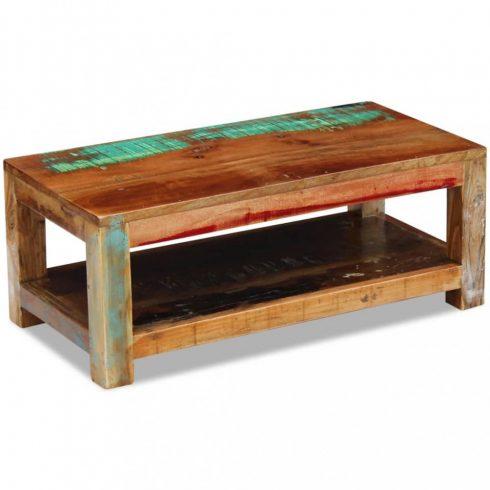 Tömör újrahasznosított fa dohányzóasztal 90x45x35 cm