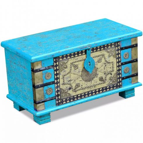 Mangófa tárolóláda kék 80x40x45 cm