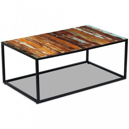 Tömör újrahasznosított fa dohányzóasztal 100x60x40 cm