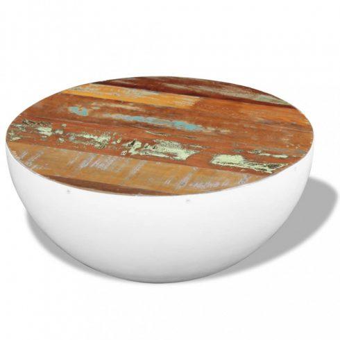 Csésze alakú tömör újrahasznosított fa dohányzóasztal 60x60x30 cm