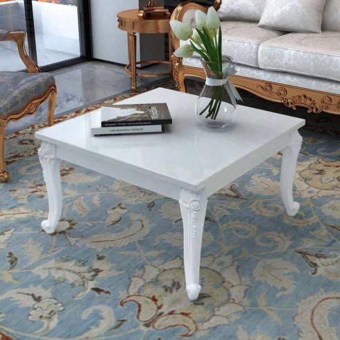 Magasfényű fehér dohányzóasztal 80 x 80 x 42 cm
