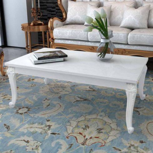Magasfényű fehér 120x70x42 cm-es dohányzóasztal