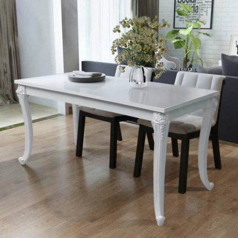 Fehér magasfényű étkezőasztal 116 x 66 x 76 cm