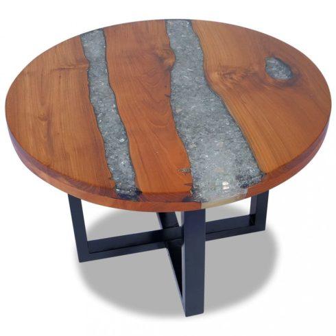 Gyantázott tíkfa dohányzóasztal 60 cm